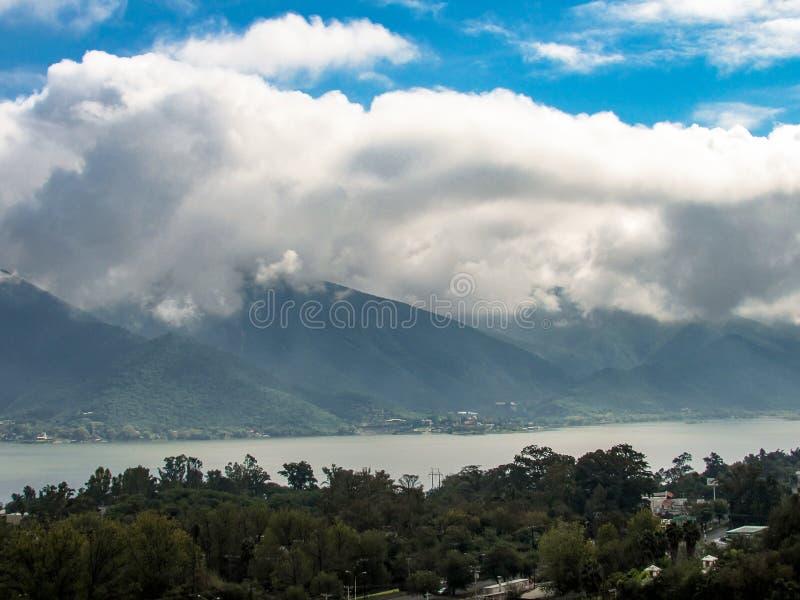 View of La Boca Dam `Presa de la Boca` from a belvedere located in the town of Santiago. 32km from Monterrey. La Boca Dam has a capacity of 40 million cubic royalty free stock image