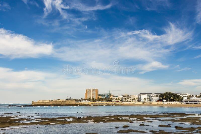 View of La Caleta from Paseo Fernando Quinones royalty free stock image