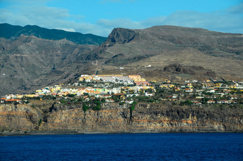 View of La Gomera. Canary Islands from the Ocean stock photo