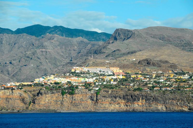 View of La Gomera. Canary Islands from the Ocean royalty free stock photography