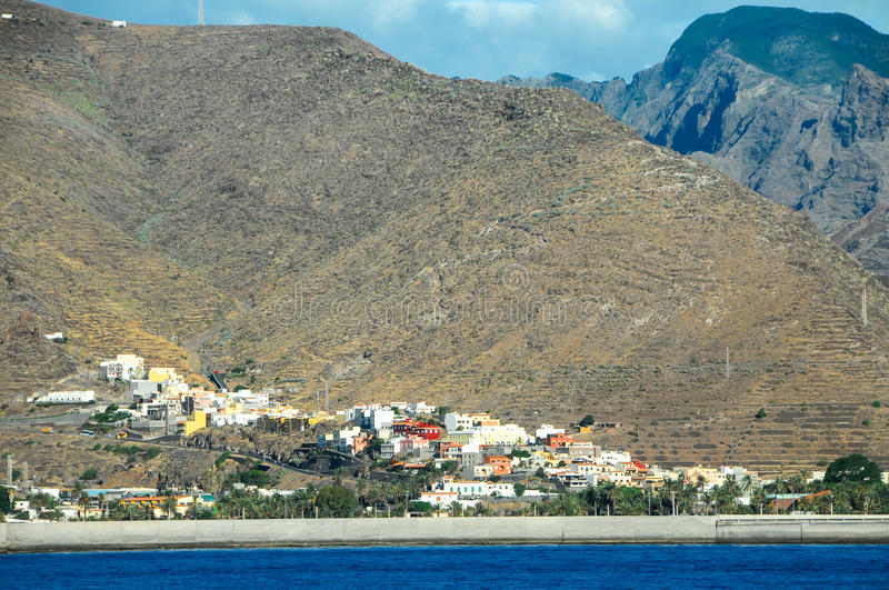 View of La Gomera. Canary Islands from the Ocean stock photography
