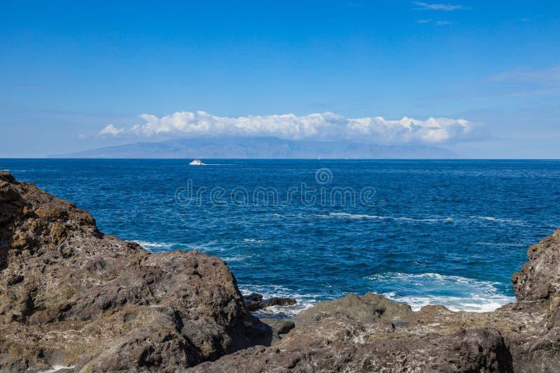 View of La Gomera island from Puerto de Santiago. Tenerife, Canary Islands, Spain stock image