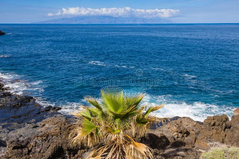 View of La Gomera island from Puerto de Santiago. Tenerife, Canary Islands, Spain stock photos