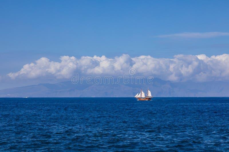 View of La Gomera island from Puerto de Santiago. Tenerife, Canary Islands, Spain stock images