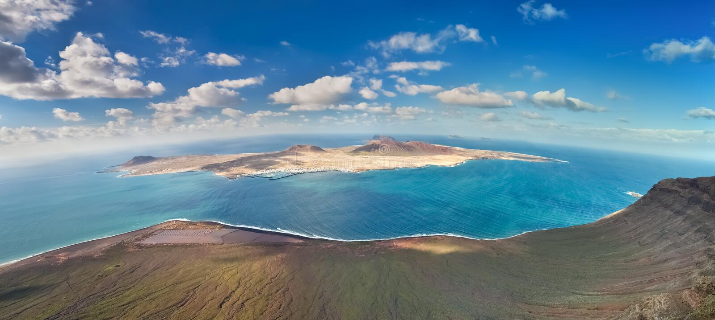 Panorama of La Graciosa Island, Lanzarote island - Canary Islands - Spain stock photos