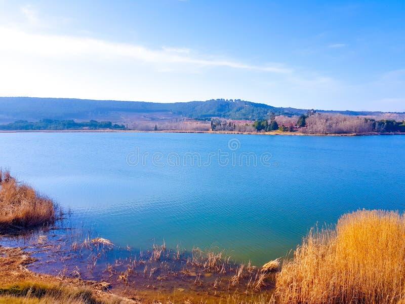 View of La Grajera reservoir in Logroño, Spain. Section of the Pilgrims` Way to Santiago de Compostela past the city of Logroño royalty free stock photos