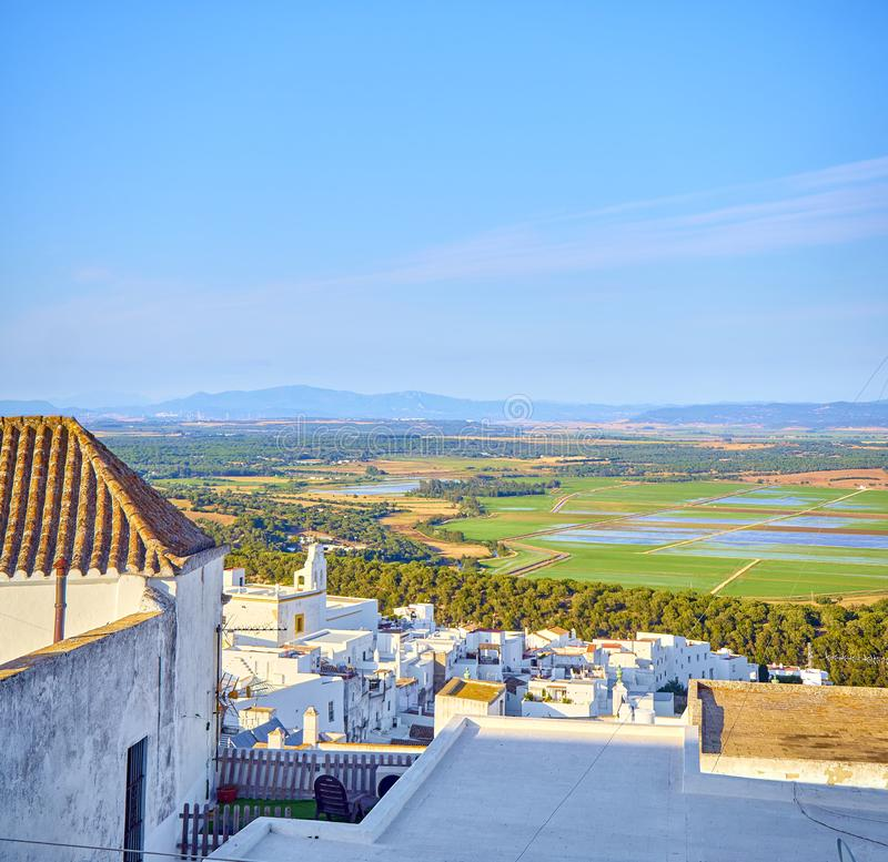 Vejer de la Frontera downtown. Cadiz province, Andalusia, Spain. A view of the La Janda county with the Marshes of Barbate river. View from the La Corredera stock image
