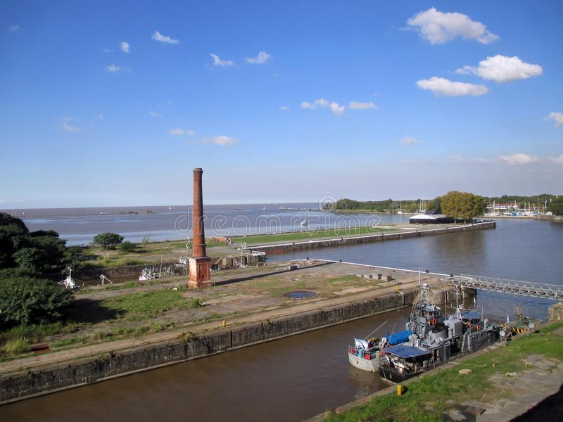 View of the La Plata River. From a window of the Old Hotel of Immigrants of Buenos Aires Argentina stock photo