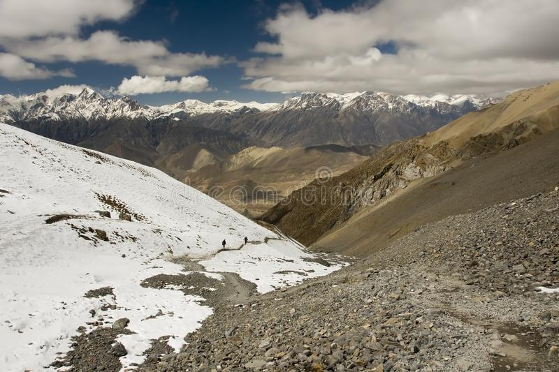 View from La Thorung towards Muktinath stock photo