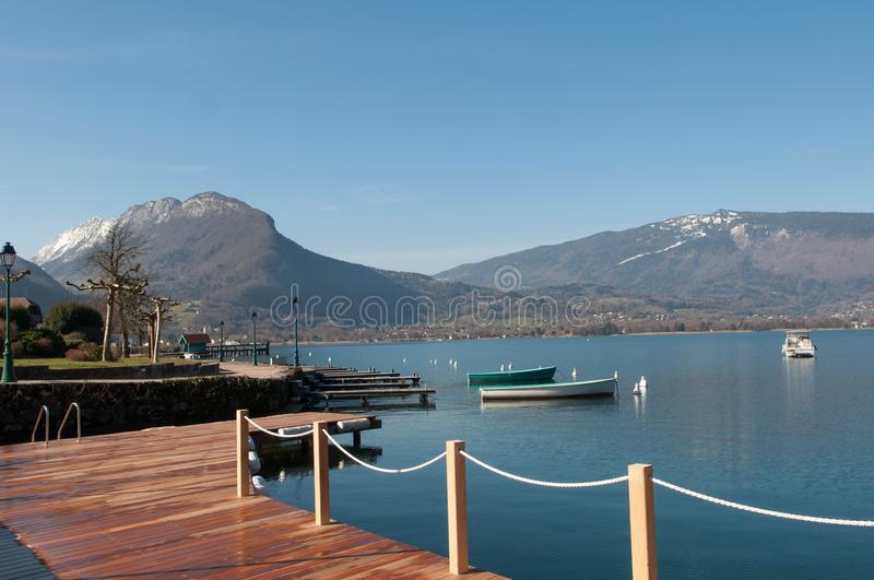 View of Lac d`Annecy and Mountains from Talloires in France royalty free stock photography