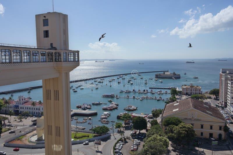 View of Lacerda Elevator and All Saints Bay Baia de Todos os Santos stock photography