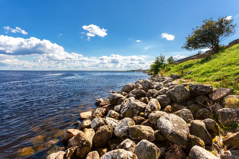 View of the Ladoga lake, boulders and the Oreshek fortress. In Shlisselburg, Russia royalty free stock photos