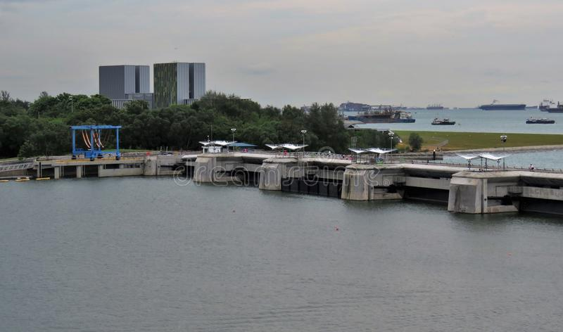 View of lagoon sea and buildings stock photography