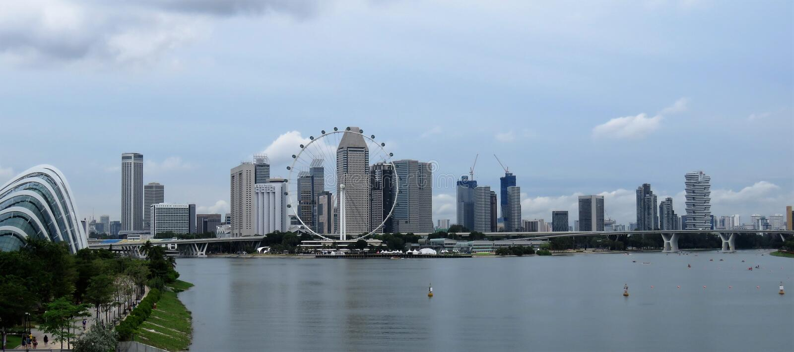 View of lagoon sea and buildings in Singapore stock photo