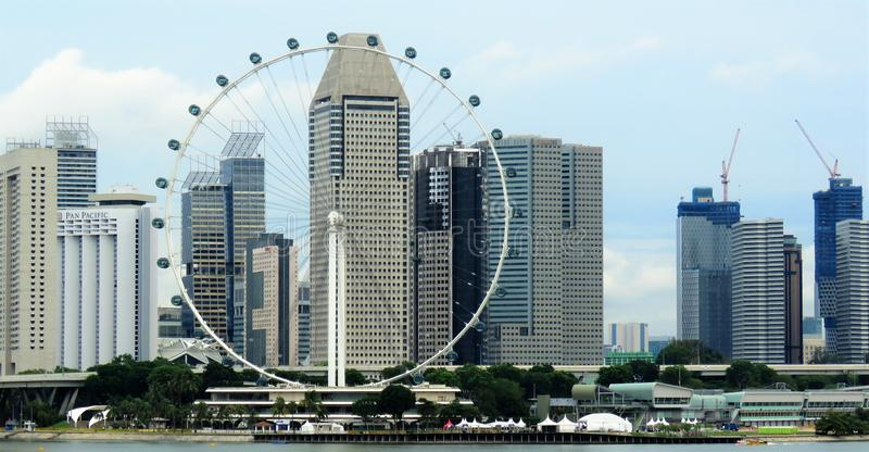 View of lagoon sea and buildings in Singapore stock photos