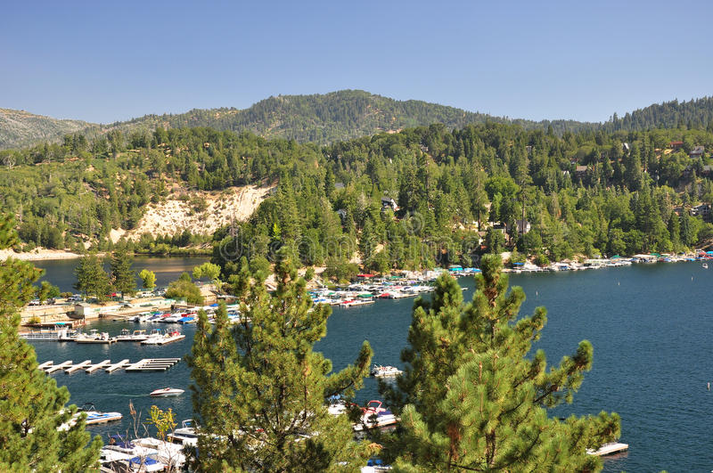 View of Lake Arrowhead. Lake Arrowhead is located high up in the San Bernardino mountains of Southern California royalty free stock images