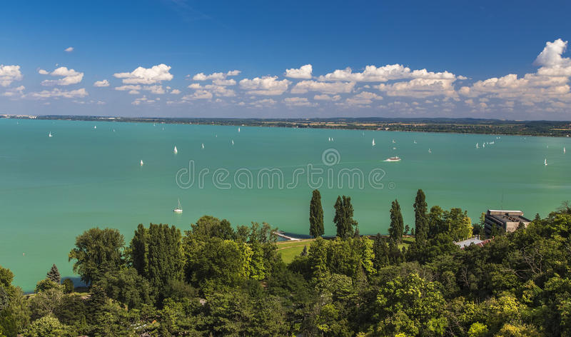 View of the Lake Balaton. With snow-white yachts on a hot day. Tihany. Hungary royalty free stock image