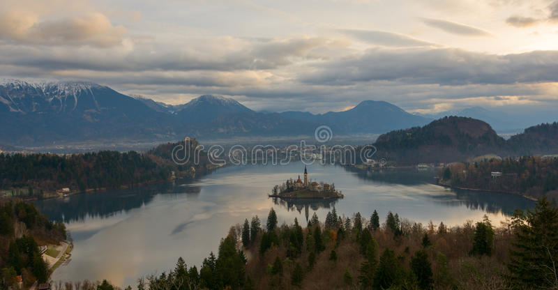 View of lake Bled from above royalty free stock image