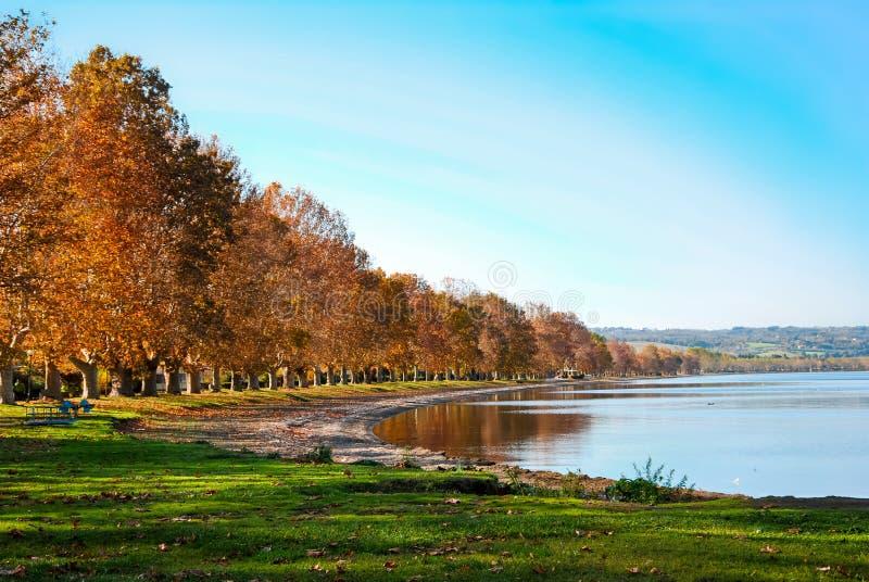 View of the Lake of Bolsena. Autumn View of the Lake of Bolsena stock photography