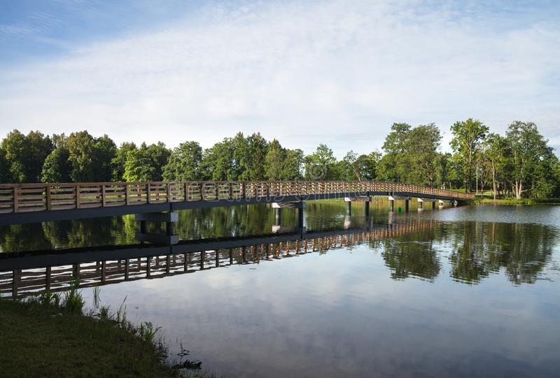 View of lake and bridge stock photography