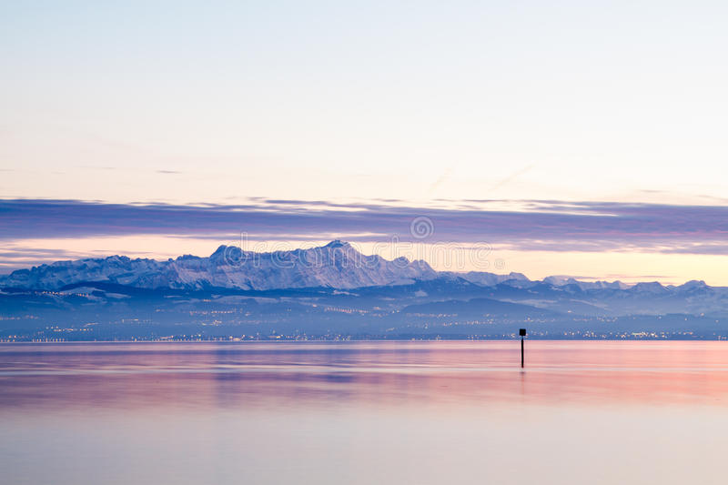 View from lake constance to mountains stock photo