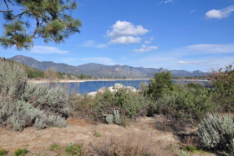 Hemet Lake landscape. View of Lake Hemet and the surrounding vegetation on Mount San Jacinto in Southern California stock photos
