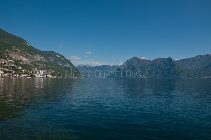View of Lake Iseo from the city of lovere. Italy royalty free stock photo