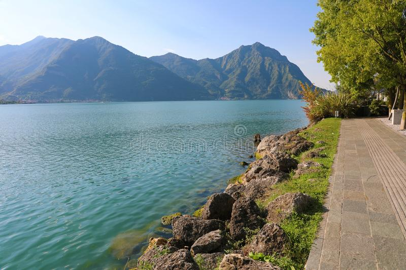 View of Lake Iseo from Lovere town, Italy.  stock photography