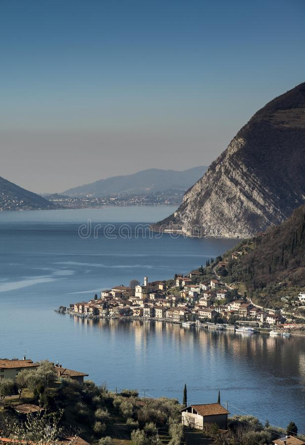 View of the Lake Iseo. View of Montisola,Island in the Lake Iseo in Italy royalty free stock photography