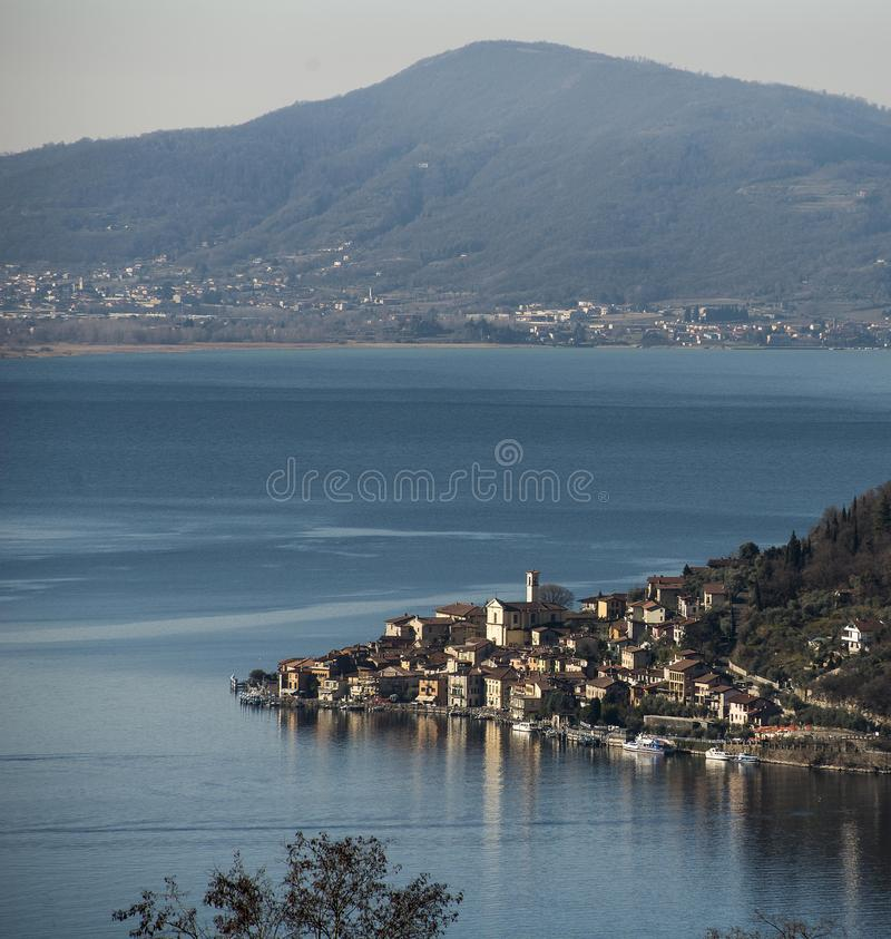 View of the Lake Iseo. View of Montisola,Island in the Lake Iseo in Italy royalty free stock photo