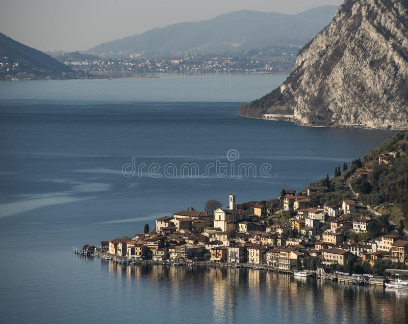 View of the Lake Iseo. View of Montisola,Island in the Lake Iseo in Italy stock photography