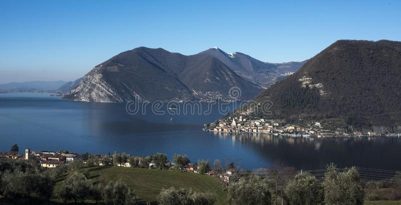 View of the Lake Iseo. View of Montisola,Island in the Lake Iseo in Italy stock photos