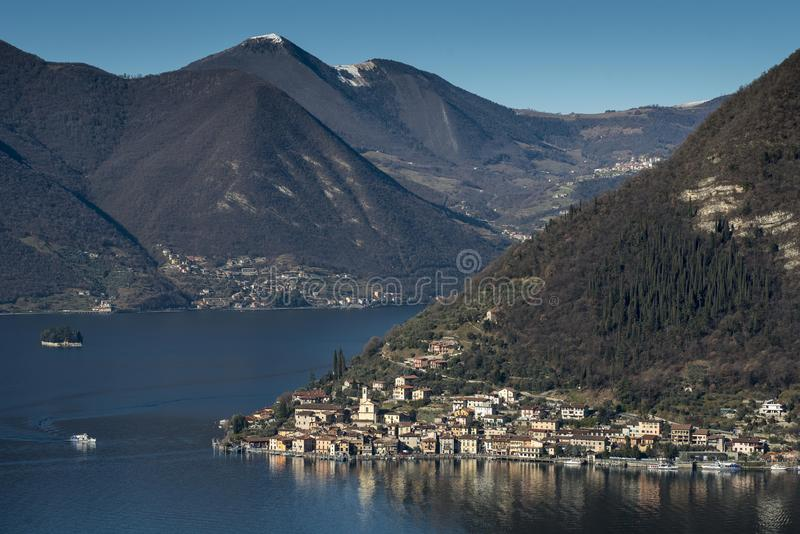View of the Lake Iseo. View of Montisola,Island in the Lake Iseo in Italy stock photo