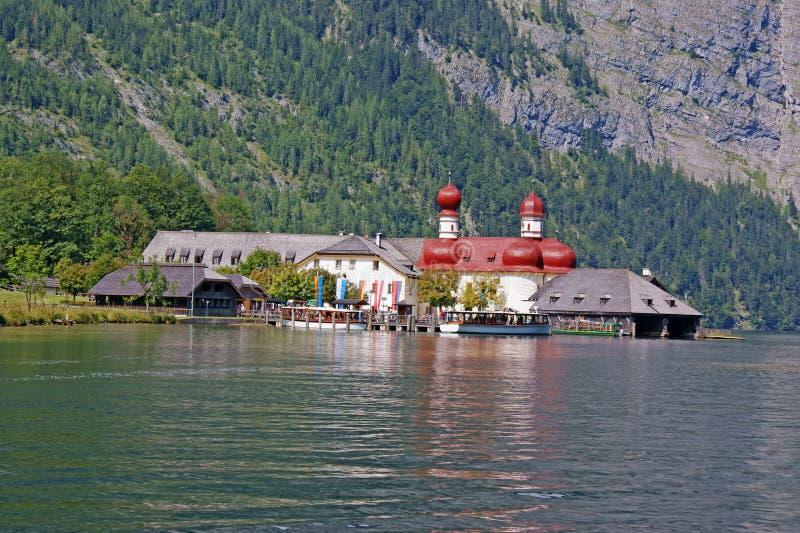 View from Lake Koenigssee to St. Bartholomew stock image