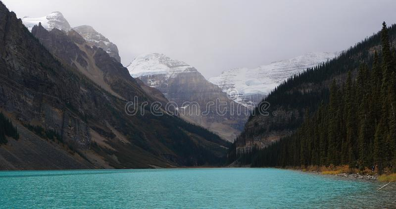 View of Lake Louise in Banff National Park, Alberta. A View of Lake Louise in Banff National Park, Alberta stock photography