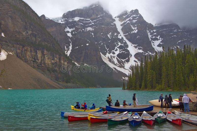 View of lake Louise in Canadian Rockies royalty free stock photo