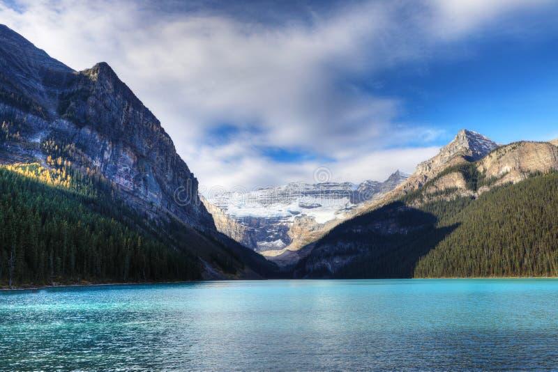 Lake Louise near Banff, Alberta. View of Lake Louise near Banff, Alberta stock photo