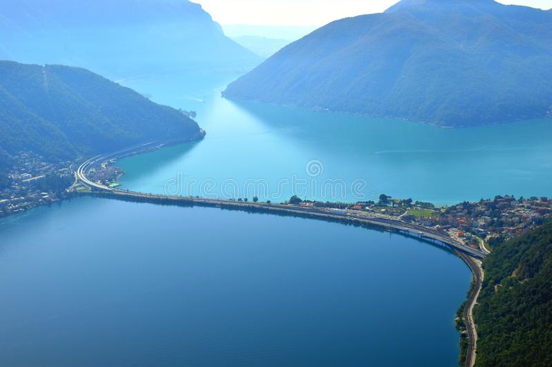 View of Lake Lugano panorama from Monte San Salvatore Bridge over Lake Lugano in Switzerland. stock images