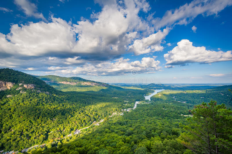 View of Lake Lure from Chimney Rock State Park, North Carolina. royalty free stock photography