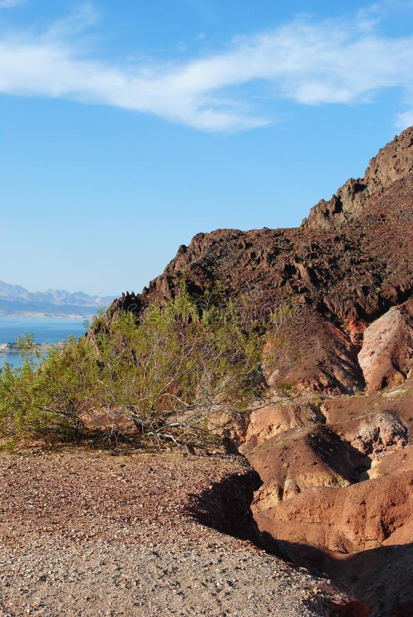 Look Out View Lake Mead. A view of Lake Mead from a rocky spot with rocks and vegetation under a blue sky stock photos