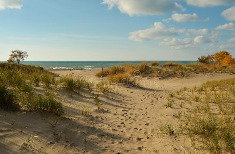 Warren Dunes State Park on Lake Michigan. A view of Lake Michigan from the dunes at Warren Dunes State Park in Michigan royalty free stock images