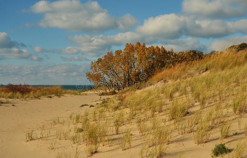 Warren Dunes State Park on Lake Michigan. A view of Lake Michigan from the dunes at Warren Dunes State Park in Michigan stock photos