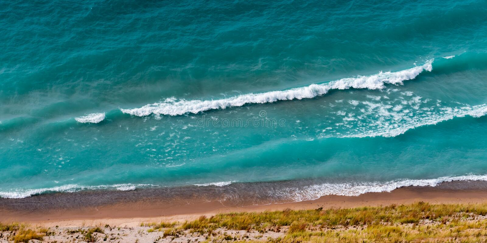 View of Lake Michigan from the top of a dune. In Sleeping Bear Dunes National Lakeshore, Empire, Michigan, USA stock photography
