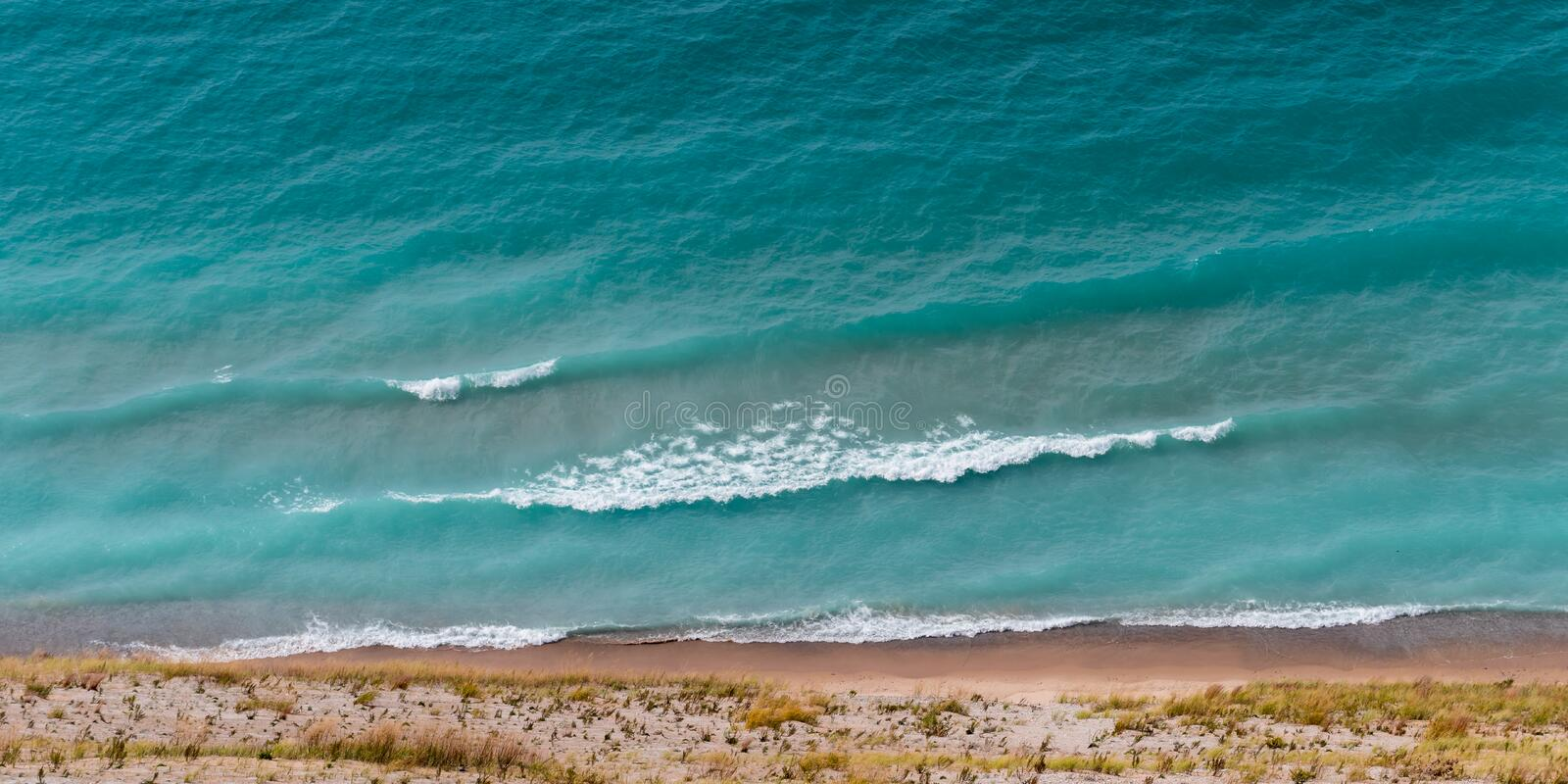 View of Lake Michigan from the top of a dune. In Sleeping Bear Dunes National Lakeshore, Empire, Michigan, USA stock image