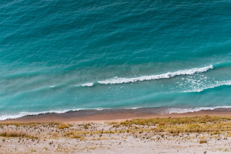 View of Lake Michigan from the top of a dune. In Sleeping Bear Dunes National Lakeshore, Empire, Michigan, USA royalty free stock photos