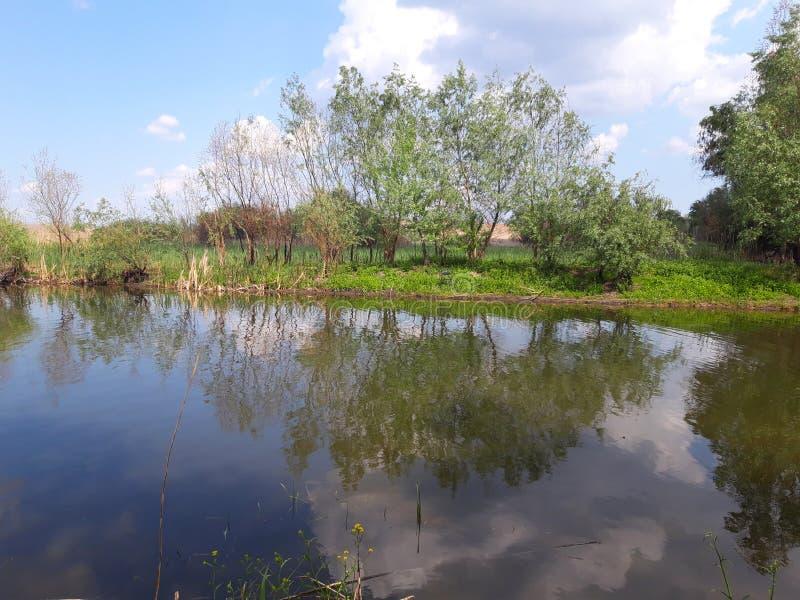 Panoramic view of lake near Saon Monastery, Tulcea stock images