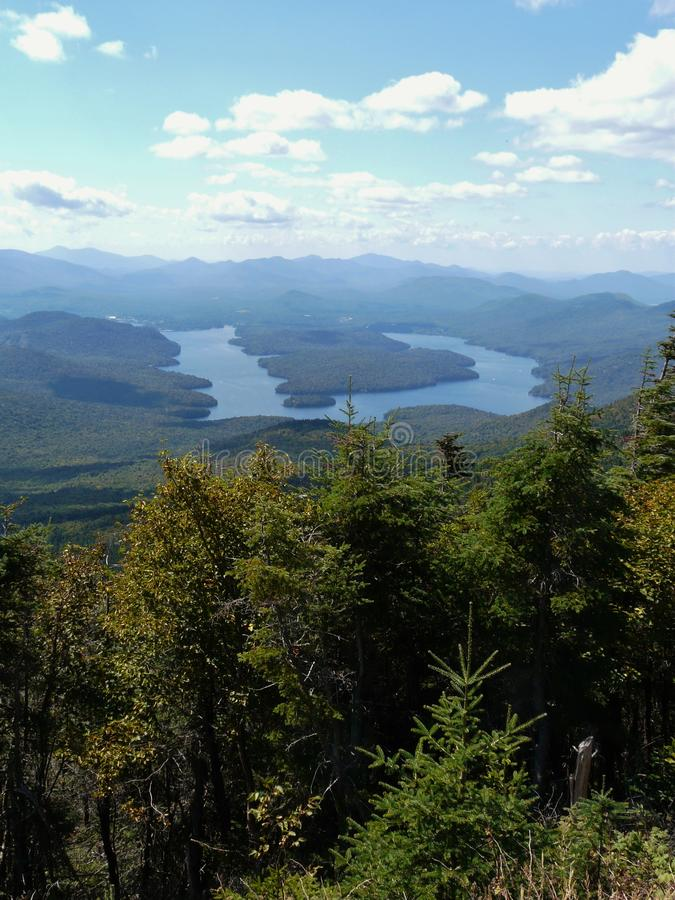 View of Lake Placid from Whiteface Mountain, Adiro. Ndack Mountains, New York State, USA royalty free stock image