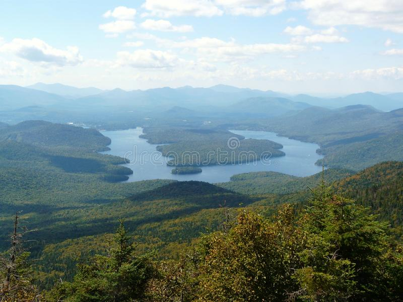 View of Lake Placid from Whiteface Mountain, Adiro. Ndack Mountains, New York State, USA royalty free stock images