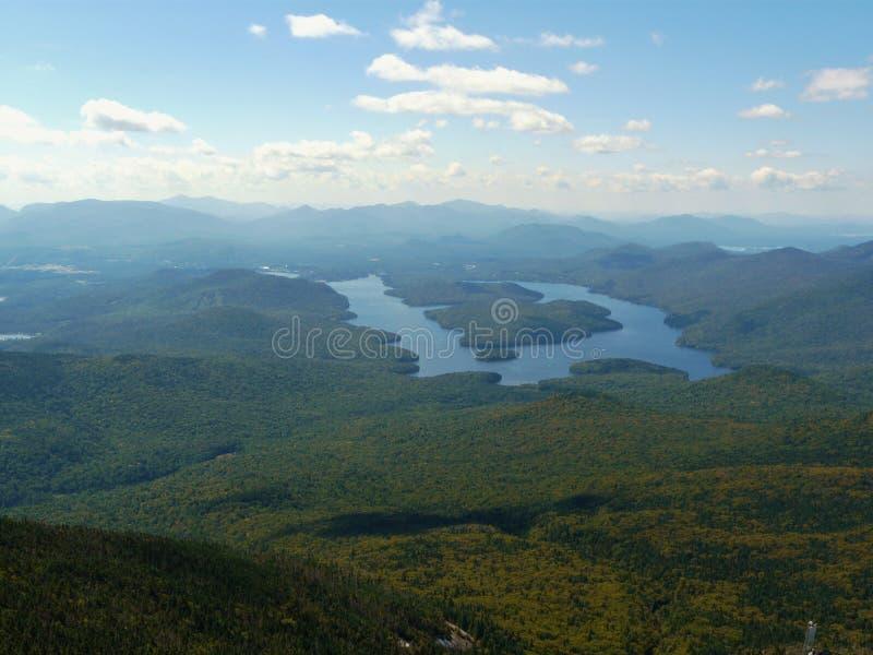 View of Lake Placid from Whiteface Mountain, Adiro. Ndack Mountains, New York State, USA stock photo