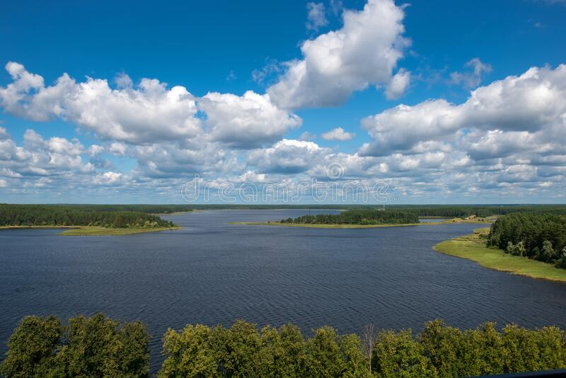 Panorama of Lake Seliger. View of Lake Seliger on a summer day stock image